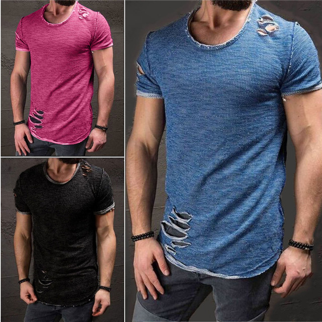 New Hot Sale Ripped Men Slim Fit Cotton Tops T-Shirt Short Sleeve Casual O Neck Tee Shirt 3