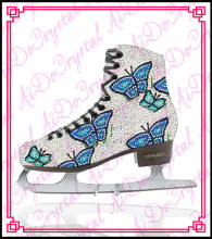 Aidocrystal 2015 exclusive design crystal covered glitter blue figure ice skating shoes