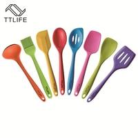 TTLIFE8 Piece Premium Silicone Heat Resistant Cooking Utensil Set Kitchen Utensil Set Silicone Utensil Set