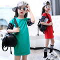 2017 spring and autumn hot fashion children's cotton T-shirt girls 4-11 years old striped sleeve stitching long section shirt