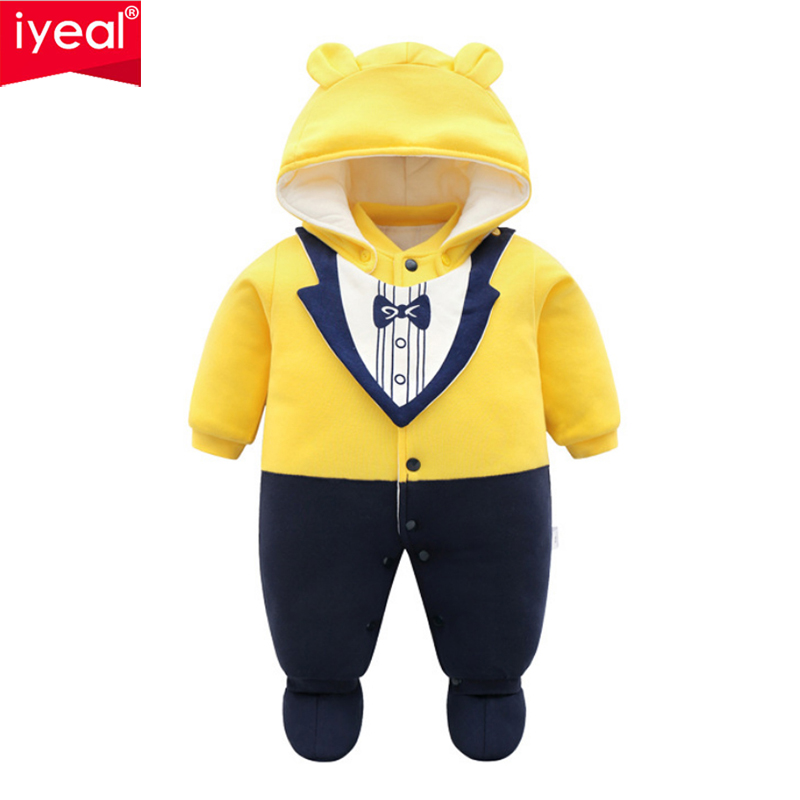 IYEAL New Baby Rompers Winter Thick Warm Baby Boy Clothing Long Sleeve Cotton Padded Hooded Jumpsuit Kids Newborn Outwear цена