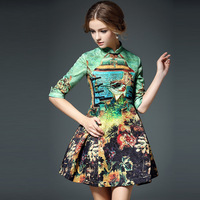 2016 Hot Sale Summer Peacock Jacquard Skirt Women Chinese Knot Cheongsam Fashion Party Dress Casual Colorful