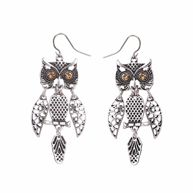 Us 2 29 Fashion Vintage Owl Earrings Punk Drop For Women Antique Silver Dangle Jewelry Hollow Out Crystal Accessories In From