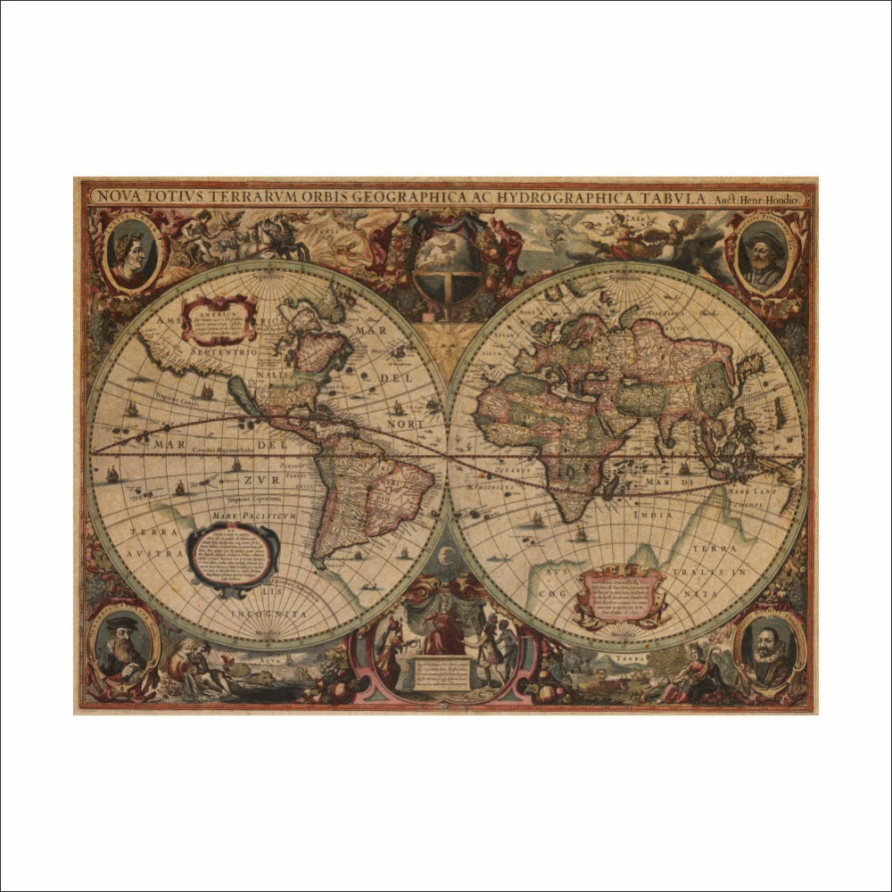 Retro world map nautical ocean sea maps vintage kraft for Vintage ocean decor