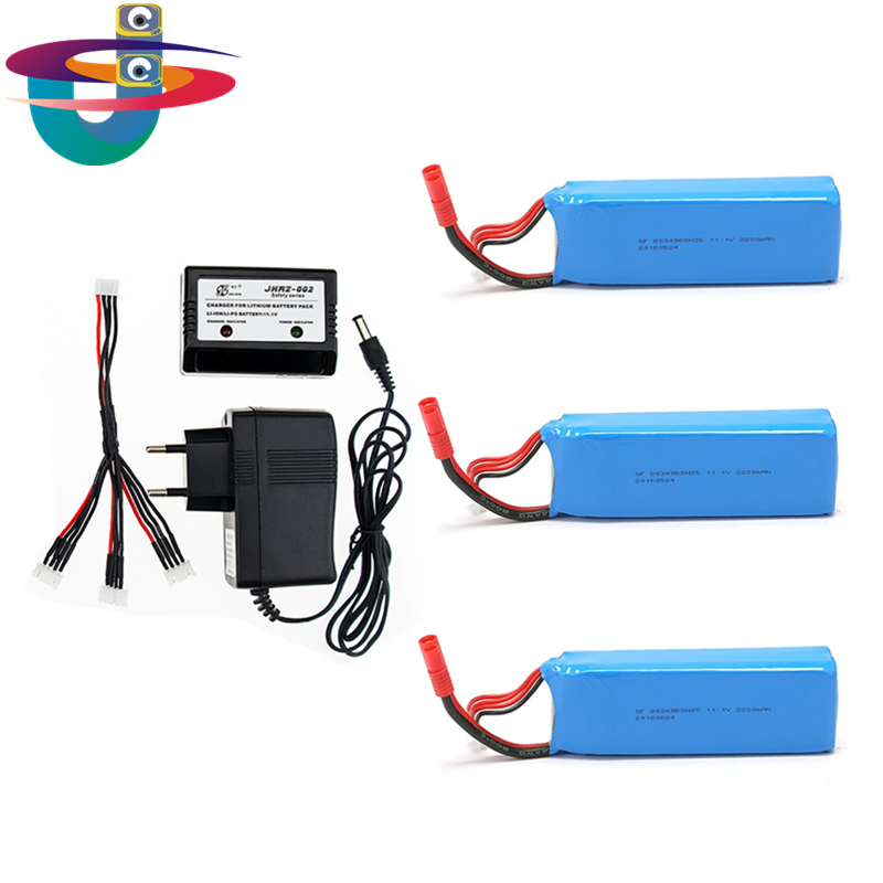 3pcs and charger set Lipo Battery 11.1V 2200Mah 3S 30C MAX 40C for Rc Quadcopter Multicopter Drone FPV 3pcs 3 7v 900mah li po battery 3 in 1 black us regulation charger and charging cable for rc xs809 xs809hc xs809hw drone