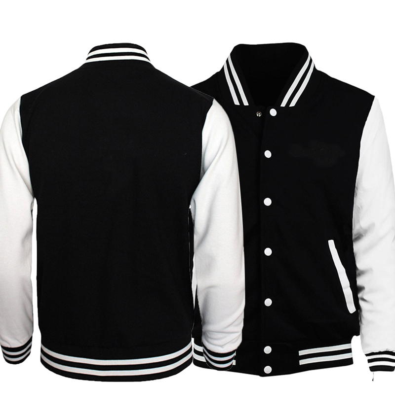 Hot Sale Jacket Men Black White Baseball Uniform Solid Color Jackets 2018 Spring Autumn Customize Coat Hipster Streetswear 5XL
