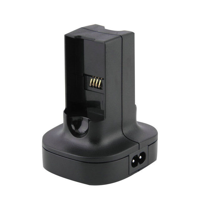 Charging Station Charger Dock For Xbox 360 with 2pcs 4800mAh Rechargeable Battery Black Wholesale
