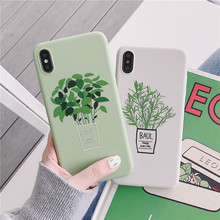 Green Flowers Phone Case For iPhone 6 6S 7 8 Plus Case Silicone Coque Soft TPU Case For iPhone X XR XS MAX 6 S Back Cover Funda