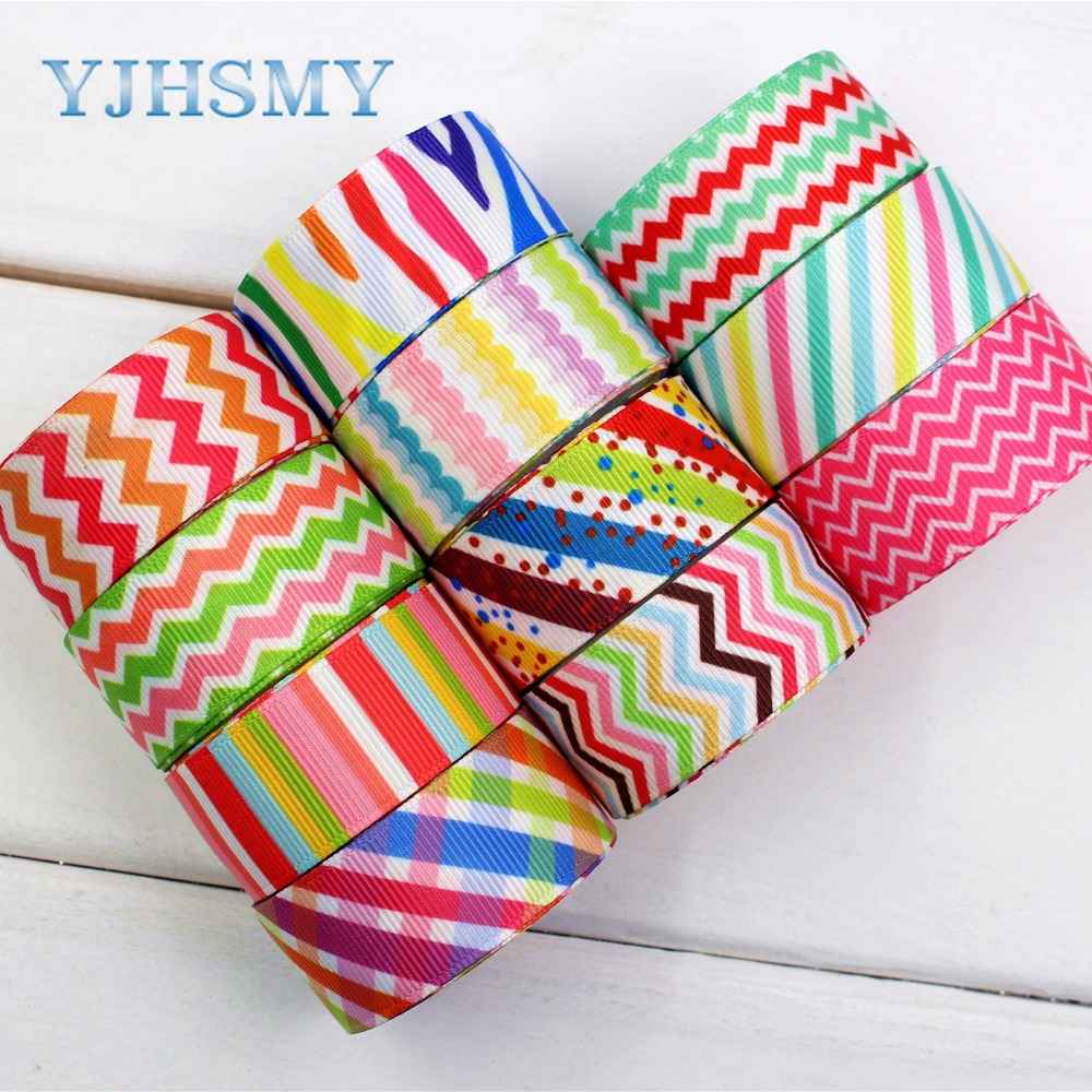 YJHSMY 174152 ,22mm geometry Printed grosgrain ribbon,DIY handmade,Wedding decoration materials, Valentines Day essential ...