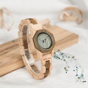 Image 5 - BOBO BIRD أحدث WM25 ساعة خشب الطبيعة للنساء التصميم الإبداعي المثمن ساعات كوارتز هدية صندوق relogio feminino