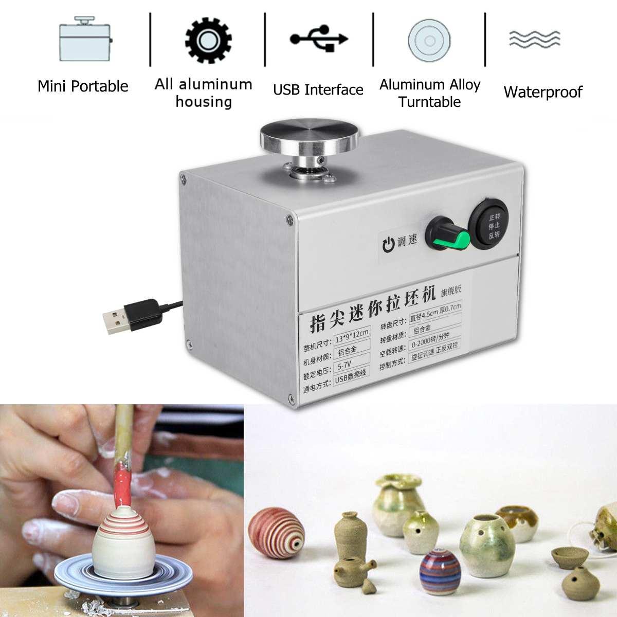 5 V USB doigt Mini poterie roue en céramique Machine 4.5 cm tourne-disque bouton bouton de changement de vitesse en continu