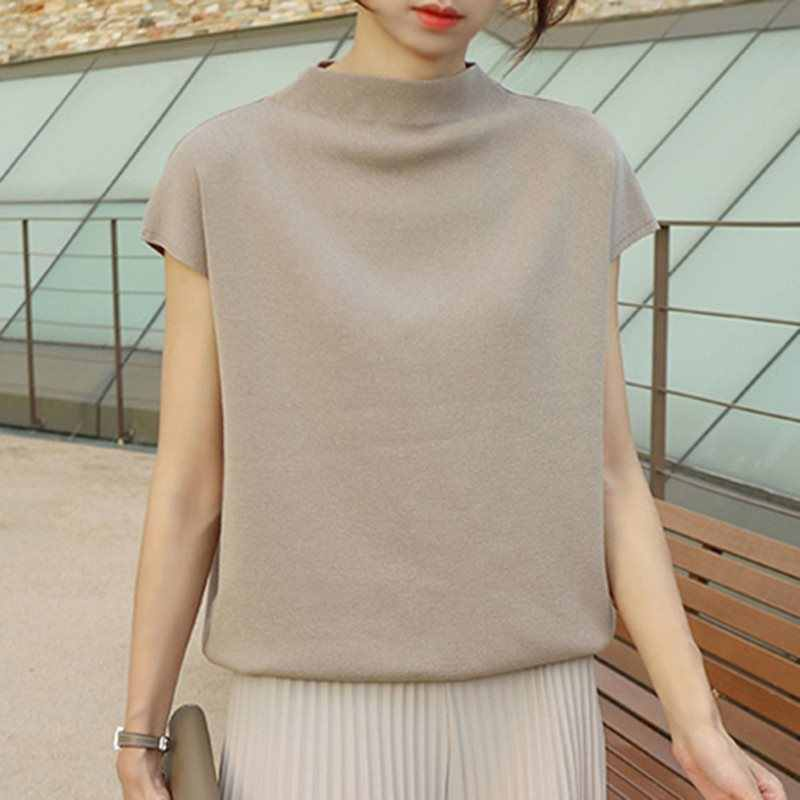 Casual Simple Vintage Elegant Korean Style Women Sweaters Loose Pullover Plain Office Ladies Summer Female Retro 2019 Chic Tops