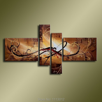 Hand-painted Peacock Modern Line Brown Letter Knife Oil Painting On Canvas 4 Panel Art Sets Home Wall Decor For Living Room Sale