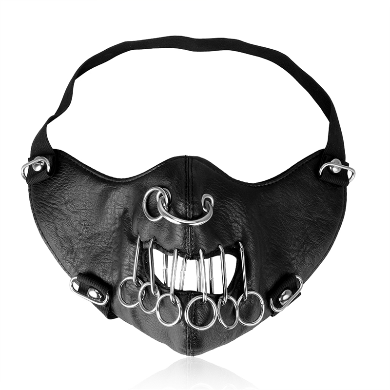 Punk Rock Black Leather Masks New Cool Women Men Mask Fashion Motorcycle Face Mask Hip-hop Halloween Party Metal Loop Masks