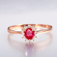 Classic Wedding Rings For Women 18K Rose Gold Prong Setting Natural Burmese Ruby Jewelry Cluster Diamond
