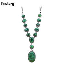 Oval Round Malachite Necklace For Women Double Layer Flower Pendant Vintage Antique Silver Plated Fashion Jewelry TN314