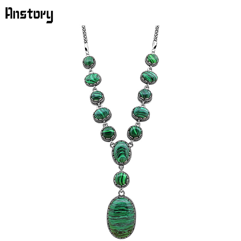 Oval Round Malachite Necklace For Women Double Layer Flower s