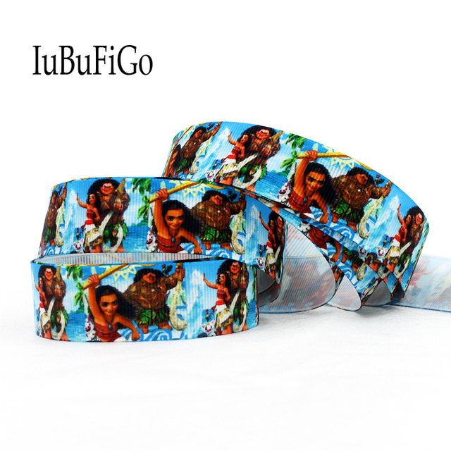 "IuBuFiGo 10 yard 7/8"" Moana Princess Printed Grosgrain ribbon 22 mm Cartoon gift ribbon bows dlework DIY headband tape 496"