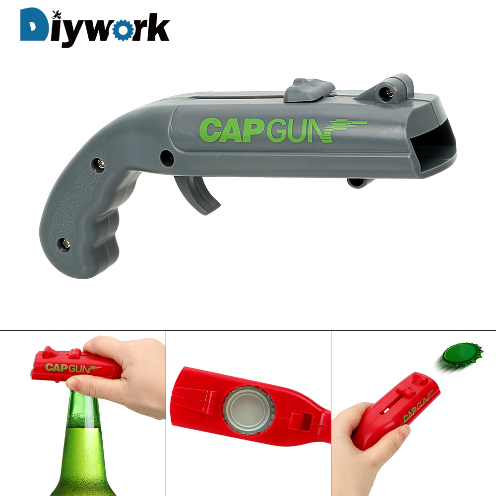 DIYWORK Spring Cap Catapult Launcher Can Openers Drink Opening Shooter Beer Bottle Opener Creative Kitchen Gadgets Gun Shape