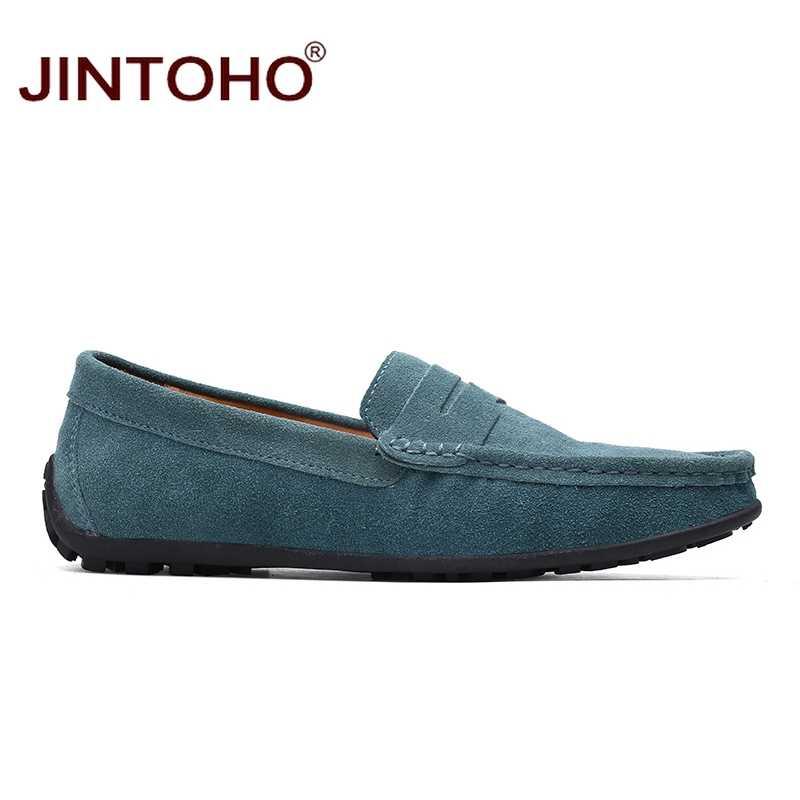 JINTOHO Moda Deri ve Süet Erkek rahat ayakkabılar Marka Erkek Bot Ayakkabı Üzerinde Kayma deri makosenler Yaz Erkek düz ayakkabı 2018 Moccasins