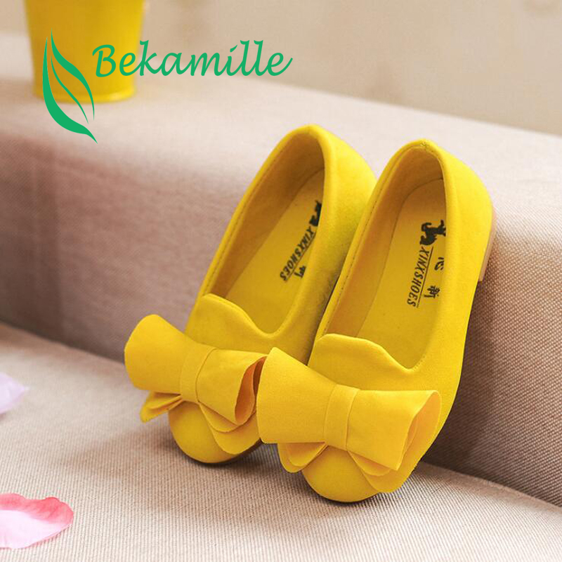 Bekamille Hot Children Spring Autumn Female Shoes Single Girls Princess Shoes Kids Casual Baby Bow Shoes Size 21-36