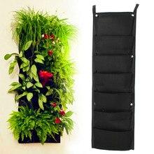 7-Pocket NEW Filz 1 STÜCK Outdoor Vertikalen Garten Blumentöpfe und Übertopf Hängende Töpfe Pflanzer Auf Grünen Feld