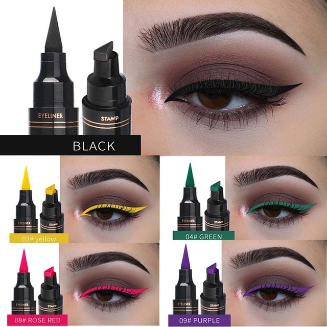 Liquid Eyeliner Stamp Pen Matte Black Colorful Lazy Eyes Make Up Waterproof Quick Dry Blue Green Red Yellow Eye Liner Pencil