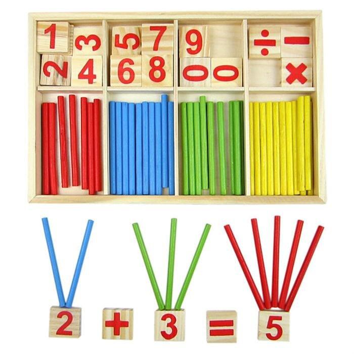 De madera de los niños números de matemática Calculat bebé montessori matemáticas rompecabezas de enseñanza juguetes digitales 20 tipo DIY de Control remoto inalámbrico de carreras de modelo Kit de madera para niños de ciencia física de juguete ensamblado juguete educativo de coche