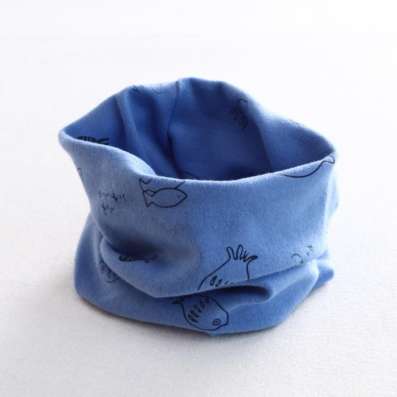 Осенне-зимний детский хлопковый шарф для девочек и мальчиков теплые шарфы Детский круглый кольцевой ошейник Детский шарф детский волшебный шейный платок - Цвет: fish 6