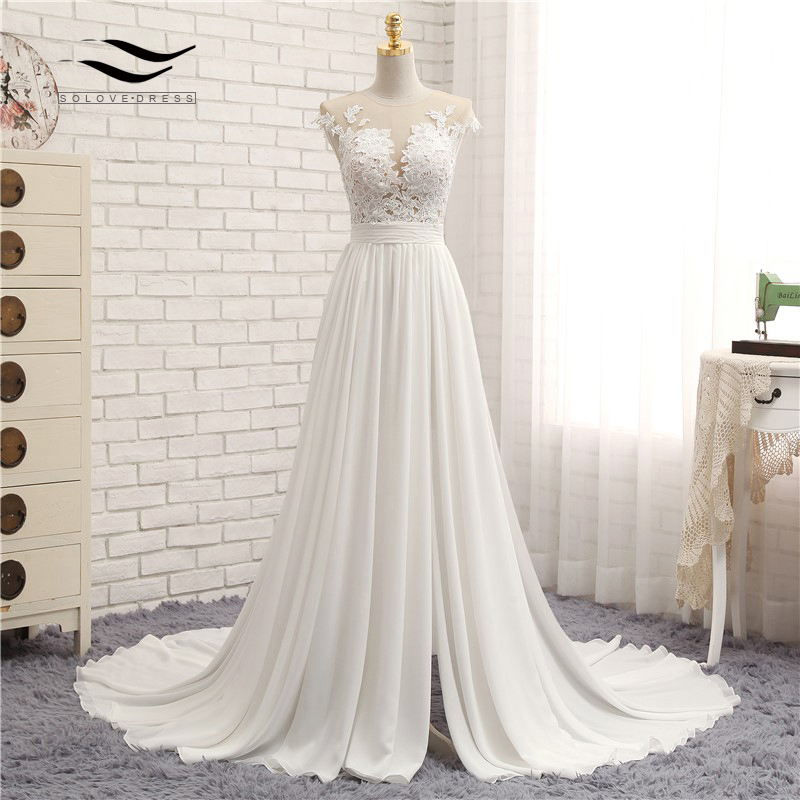 Sexy Scoop Chiffon Sweep Train Long Zipper A Line Cap Sleeve Appliques Beach Wedding Dress Real