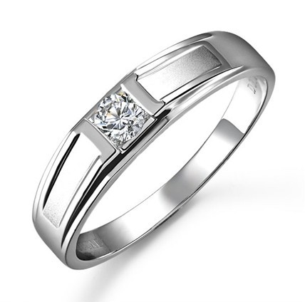 Ring For Women Simple 0.5 Carat Engagement Ring For Men 925 Sterling Silver  Gold Plated Bands