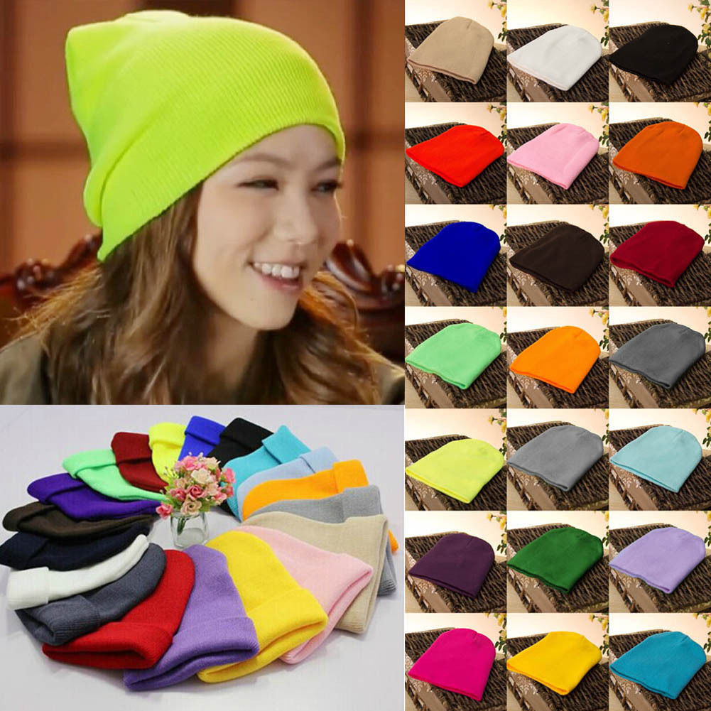 Men's Women Beanie Knit Ski Cap Hip-Hop Blank Color Winter Warm Unisex Wool Hat 22 Colors