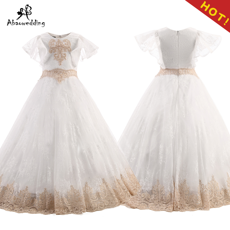 Flower Girl Dresses O neck Appliques Short Sleeves Ball Gown Pageant Dresses Communion Gown for Wedding