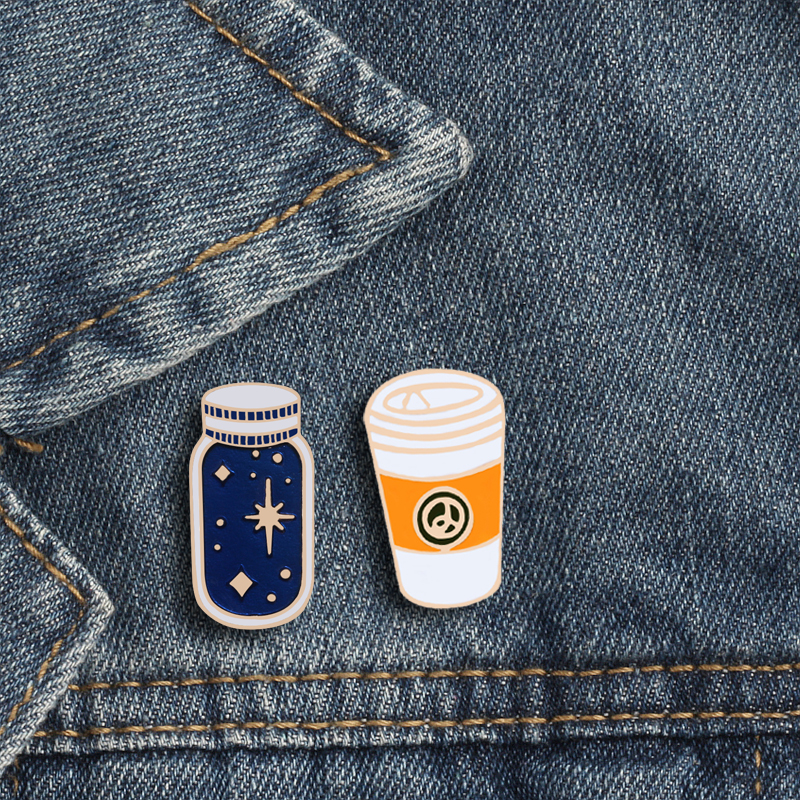 Birthday Gifts For Women Fairy Starry Sky Wishing Bottle Enamel Badge Metal Coffee Cup Pins For Brooch Leather Jackets Lapel Pin(China)