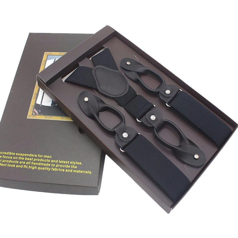 Suspensórios de Couro Real do Homem novo Botão 6 Brace Strap Moda suspensorio Ligas Ajustáveis Tirantes 3.5*120 cm sem caixa