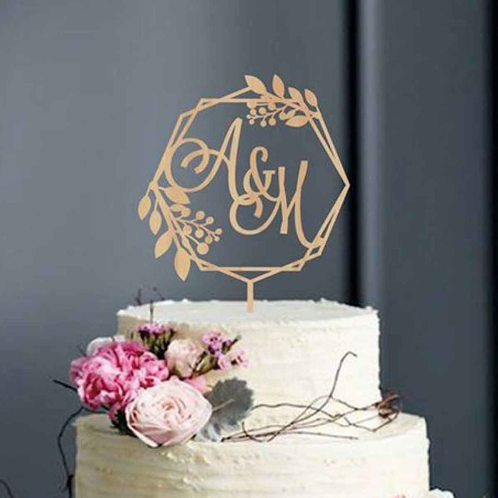 Custom Rustic Wreath Initials cake topper wedding Cake topper Calligraphy initial letters Personalized Monogram Cake Topper