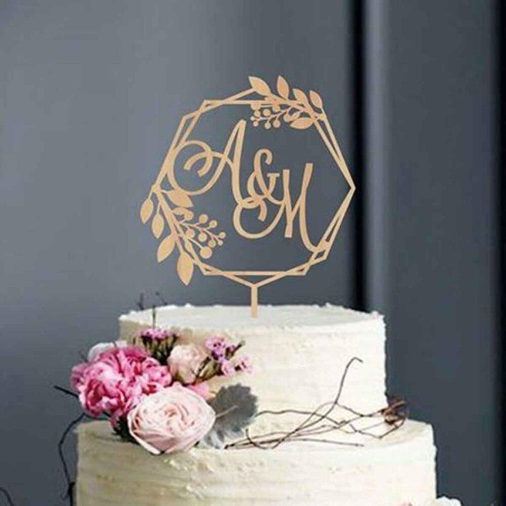 Topper do Bolo de Casamento Topper do Bolo do Monograma Iniciais de Caligrafia Personalizado Rústico Grinalda Iniciais Bolo Topper Letras Personalizado