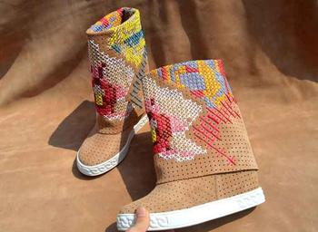 New Brand Women Round Toe White/Black/Nude/Blue Colorful Cross Stitch 8 cm Height Increasing Wedge Heels Mid-calf Short Boots