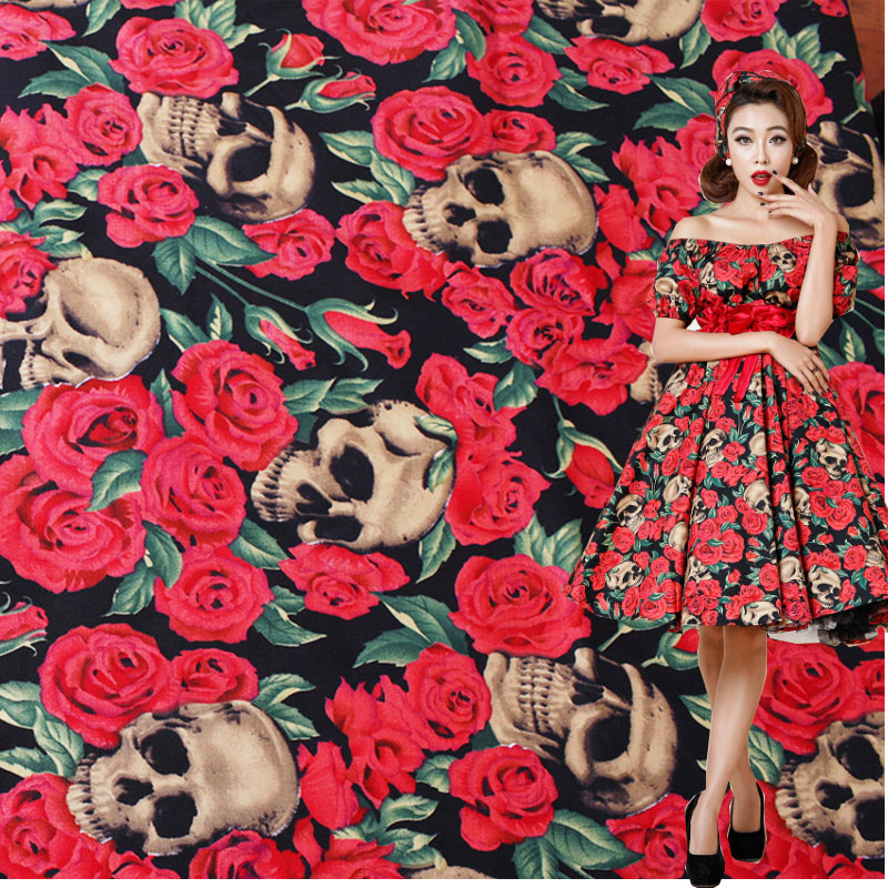 140cm Bredde Skull Fabric Stretch Poplin 100% Bomuld Stof Rose Skull Trykt Skull Fabric Patchwork Sy Materiale Diy Dress