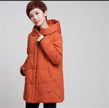 Korea 2017Winter New Big yards Women Cotton padded Jacket Coat Elegant Pure color Hooded Coat Medium