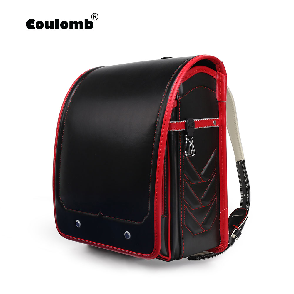 Coulomb Randoseru School Bags For Boy Children's  Backpack PU Leather Solid Zipper&Hasp Adjustable Student Bookbags 2018 Hot