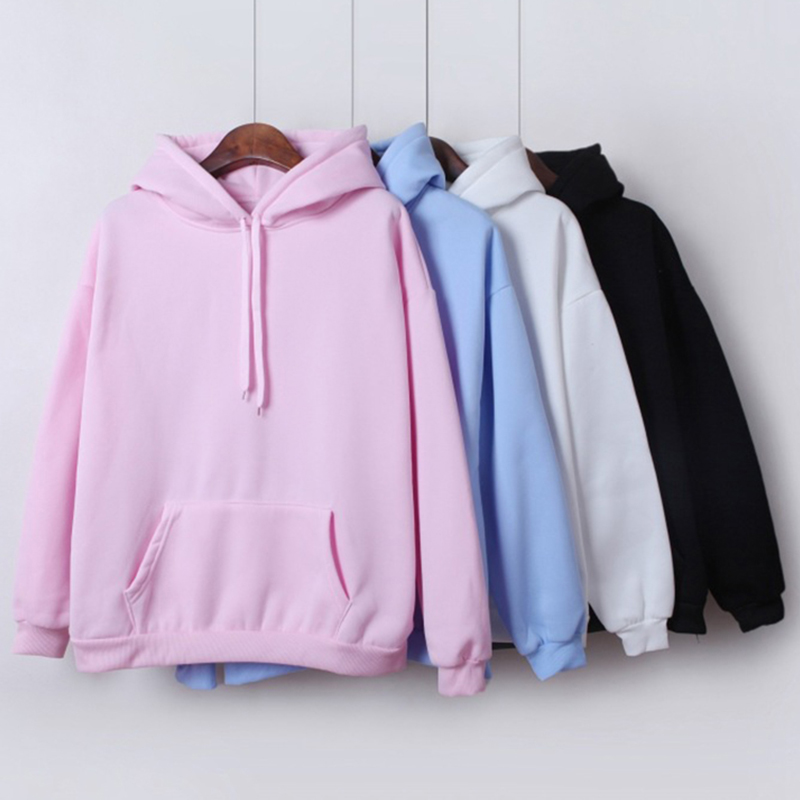 Women's Sweatshirt Long-sleeved Winter Velvet Thickening Coat Harajuku Hoodies For Girls Solid Color Hooded Tops