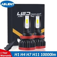 ASLENT COB Chip Turbo LED Light Bulbs for Cars H8 H11 H4 H3 H1 10000LM 80W HB4 HB3 H7 9005 9006 Lamps 12V mini Headlight