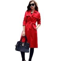 Wiosna Moda Jesień Nowy Slim Płaszcz Czerwony Temperament Kobiety Trench Coat Turn Down Collar Pokój Łuszcz Powrót Szczelina Odzieży XH253