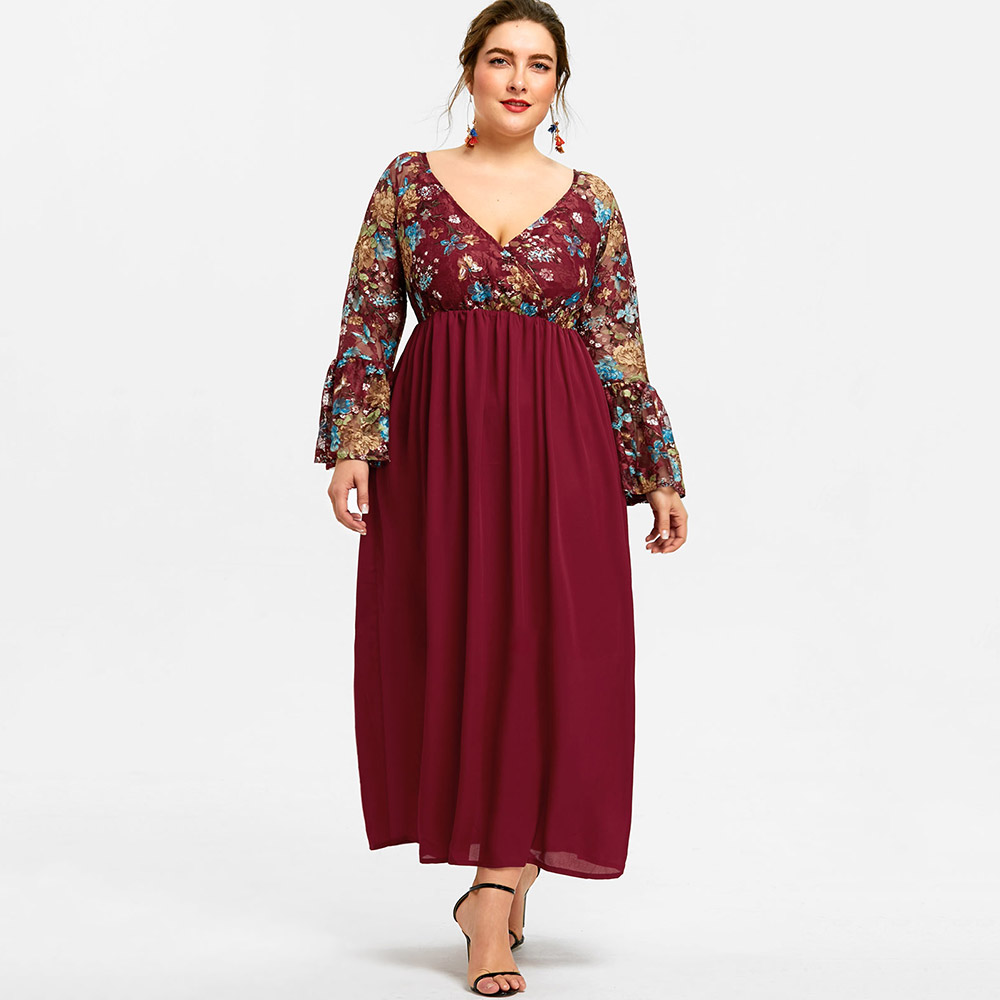 52567d02c54 Gamiss Plus Size Women Flare Sleeve Floral Maxi Dress Ankle Length Bell  Sleeve High Waisted summer Dress Swing A Line Dress-in Dresses from Women s  Clothing ...