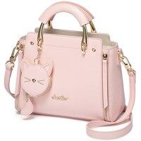 ABDB Just Star Leather Handbag Ladies Embroidered Cat Handbag Purse Ladies Tassel Stitching Casual Messenger Bag