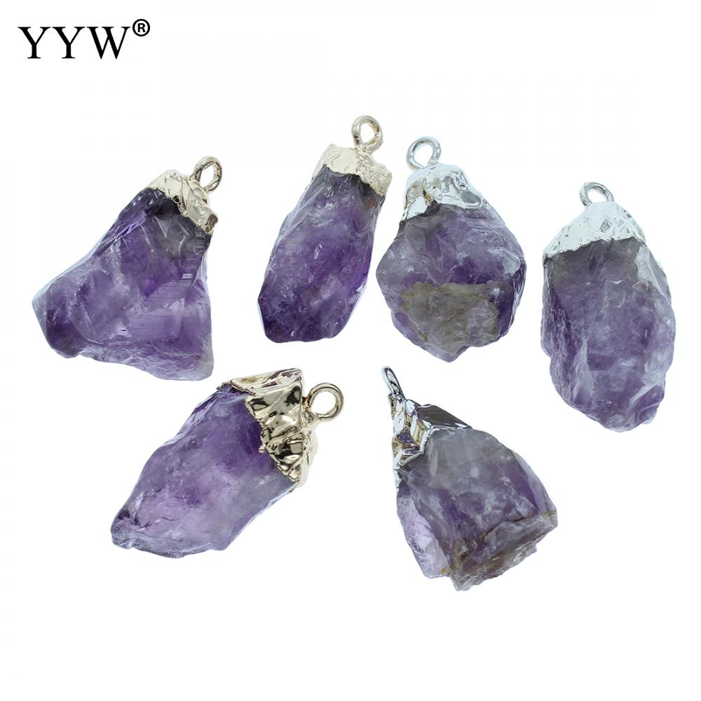 5Pcs/Lot Natural Purple Stone <font><b>Raw</b></font> Amethysts <font><b>Pendant</b></font> 15-37mm Gold color plated Charm healing <font><b>crystal</b></font> Necklace <font><b>Pendant</b></font> Finding image