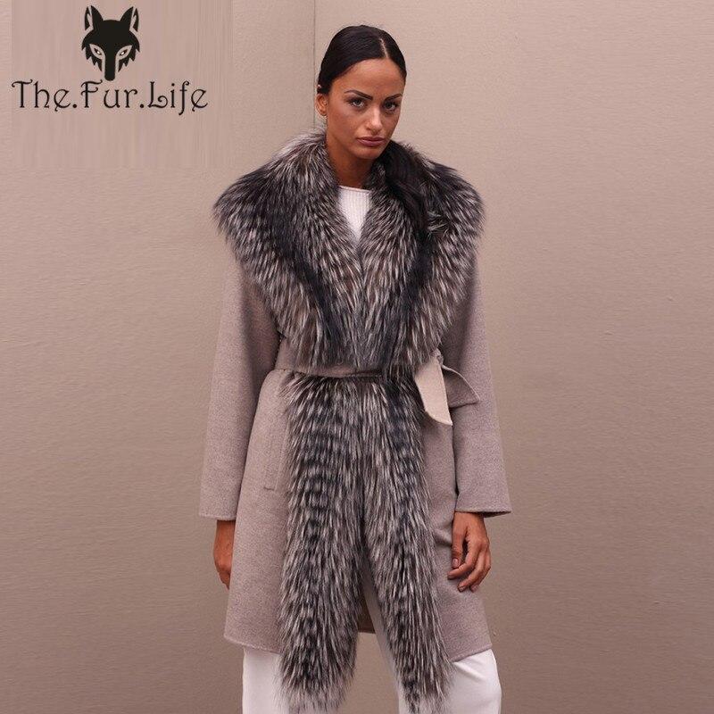 Nueva llegada Real abrigo de piel las mujeres con largo cuello de piel de zorro plateado de lana de invierno chaqueta de piel de calidad superior de piel abrigo de gran promoción
