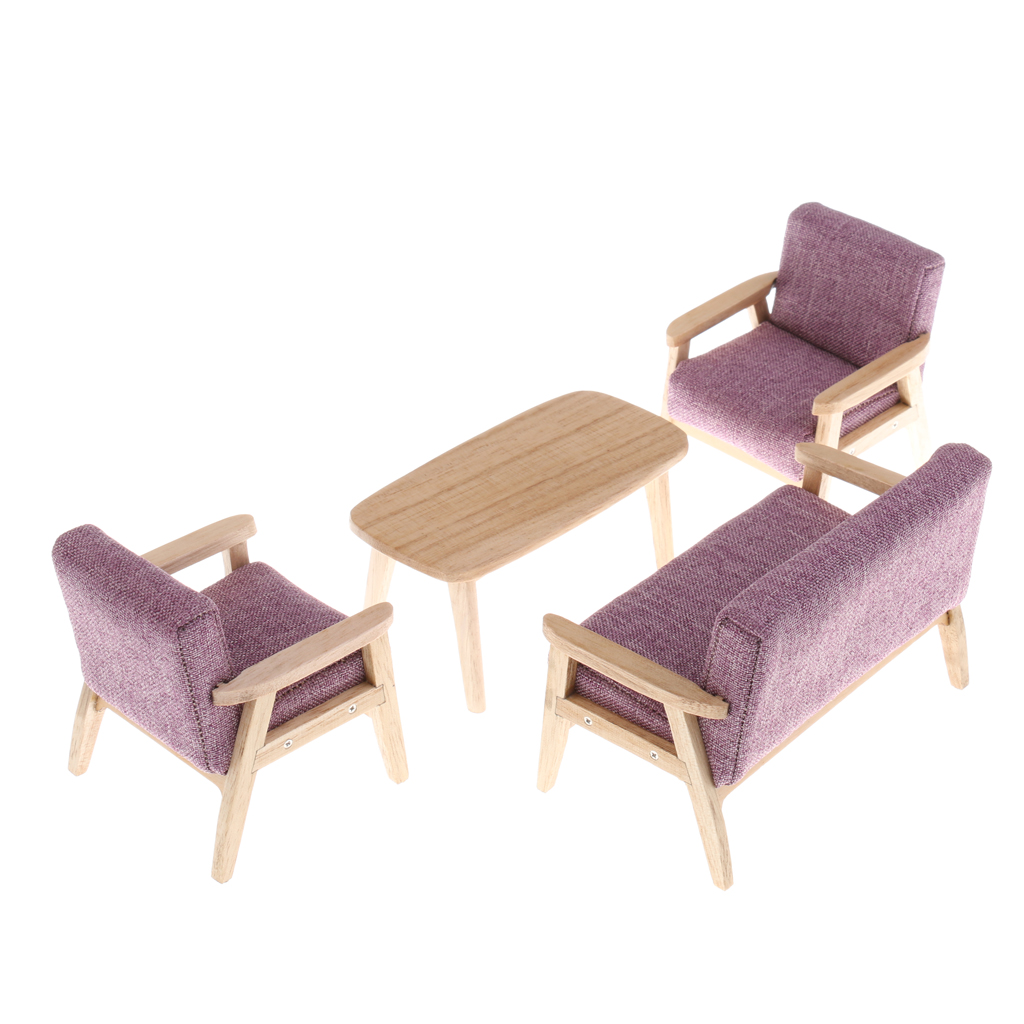 1/12 Scale Dollhouse Miniature Furniture Sofa Couch End Table Set Pretend Play Doll House Decoration Kids Toy Collectibles
