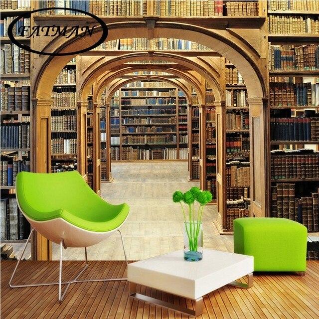 Benutzerdefinierte fototapete HD wallpaper Bibliothek bücherregal 3D ...